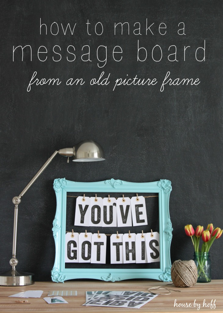 30 How to Make a Message Board From an Old Picture Frame via House by Hoff