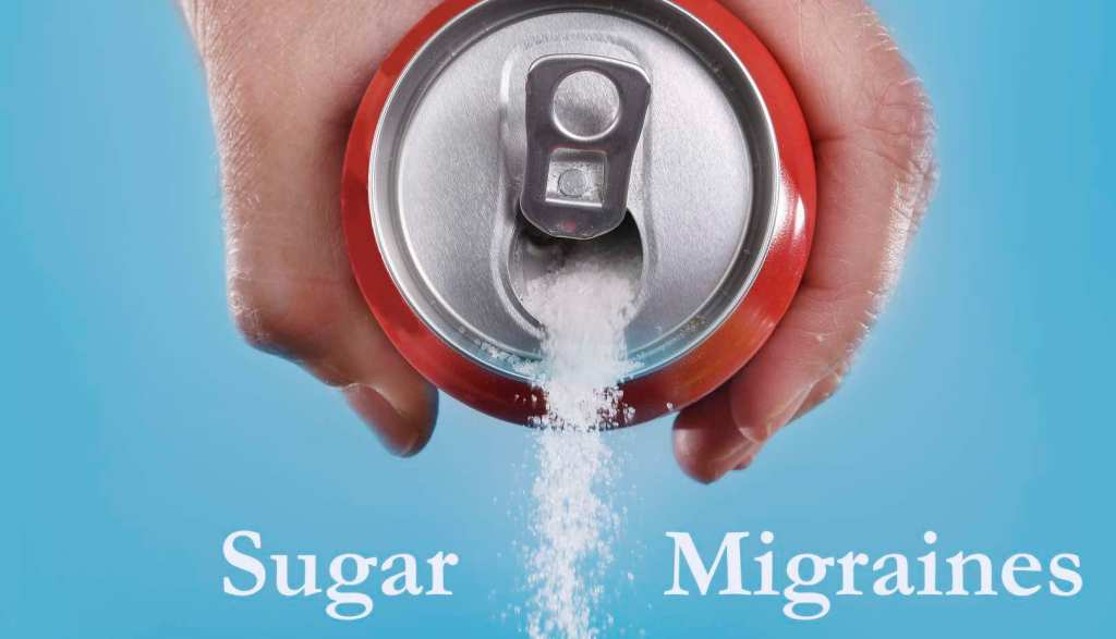 Processed sugar is a migraine trigger. Can of coke sugar pouring out.