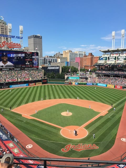 a picture of Progressive Field in blog talking about fear of migraine attack