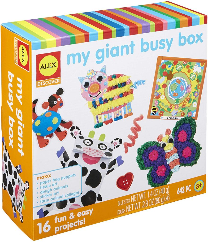 Craft box with pre-made crafts make awesome gift ideas for kids.