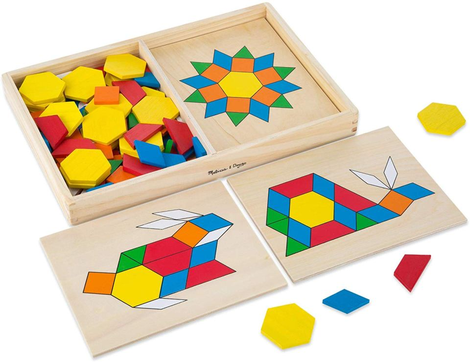 Colorful pattern blocks make fun gift ideas for kids.