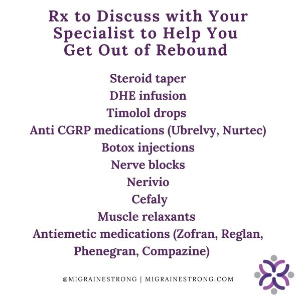 Prescriptions to help get rid of rebound headaches
