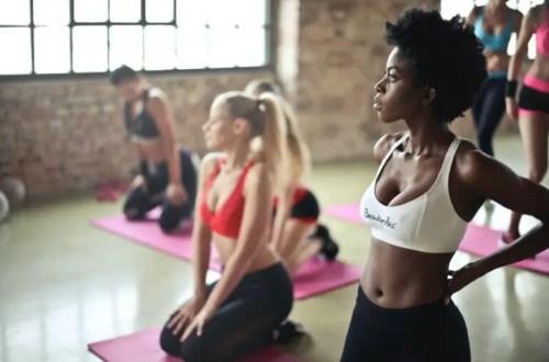 women practicing yoga for migraine