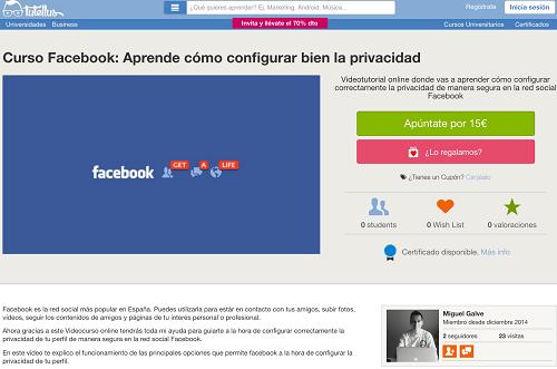 Curso aprende a configurar la privacidad en Facebook.com