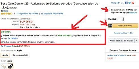 Ficha de producto Amazon.es
