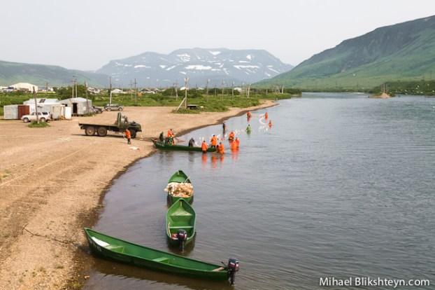 Ozernaya River sockeye salmon beach seining