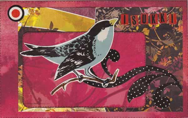 Tämän kortin puolestaan tein samalla korttipohjameiningillä, mutta majava vauhtui lintuun. Tän annoin omalle isukilleni. Pappan kortissa oli samaa meininkiä, mutta aiheena sellanen vanha gramofini.