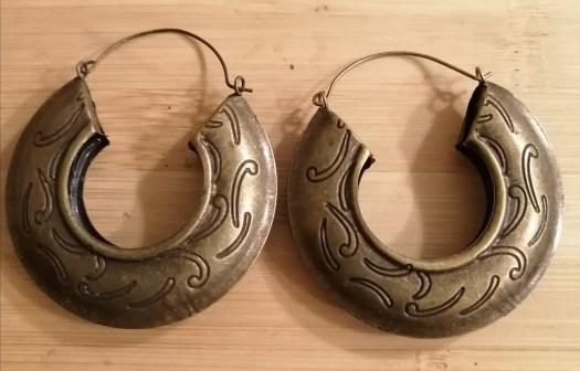 Medium Size Wave Print Earrings - Vintage