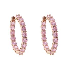Pink rose gold cz hoop earrings