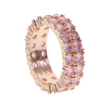rose gold double eternity band ring