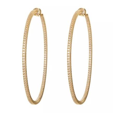 sterling silver cz stone hoop earrings