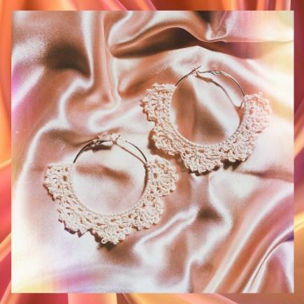 Crochet pinwheel earrings main photo