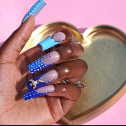 Abstract Blue French Press on Nails with Silver Accents