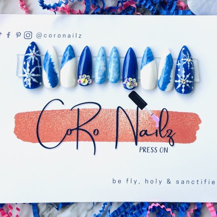 A Blu Marble Christmas | Blue Nails | White Nails | Press on Nails | Long Stiletto Nails | Fake Nails | MADE TO ORDER