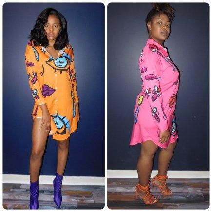 Orange/Pink Front Button Closure Dress
