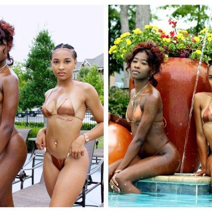 Bronze two piece thong bikini