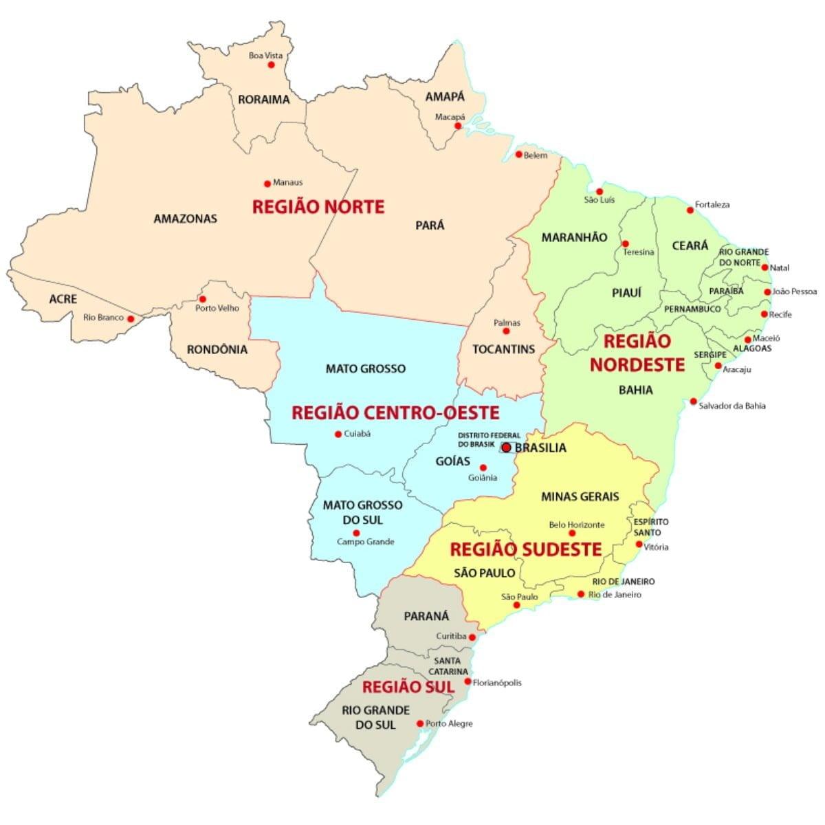 Landkaart van Brazilië die verdeeld is in regio's en deelstaten