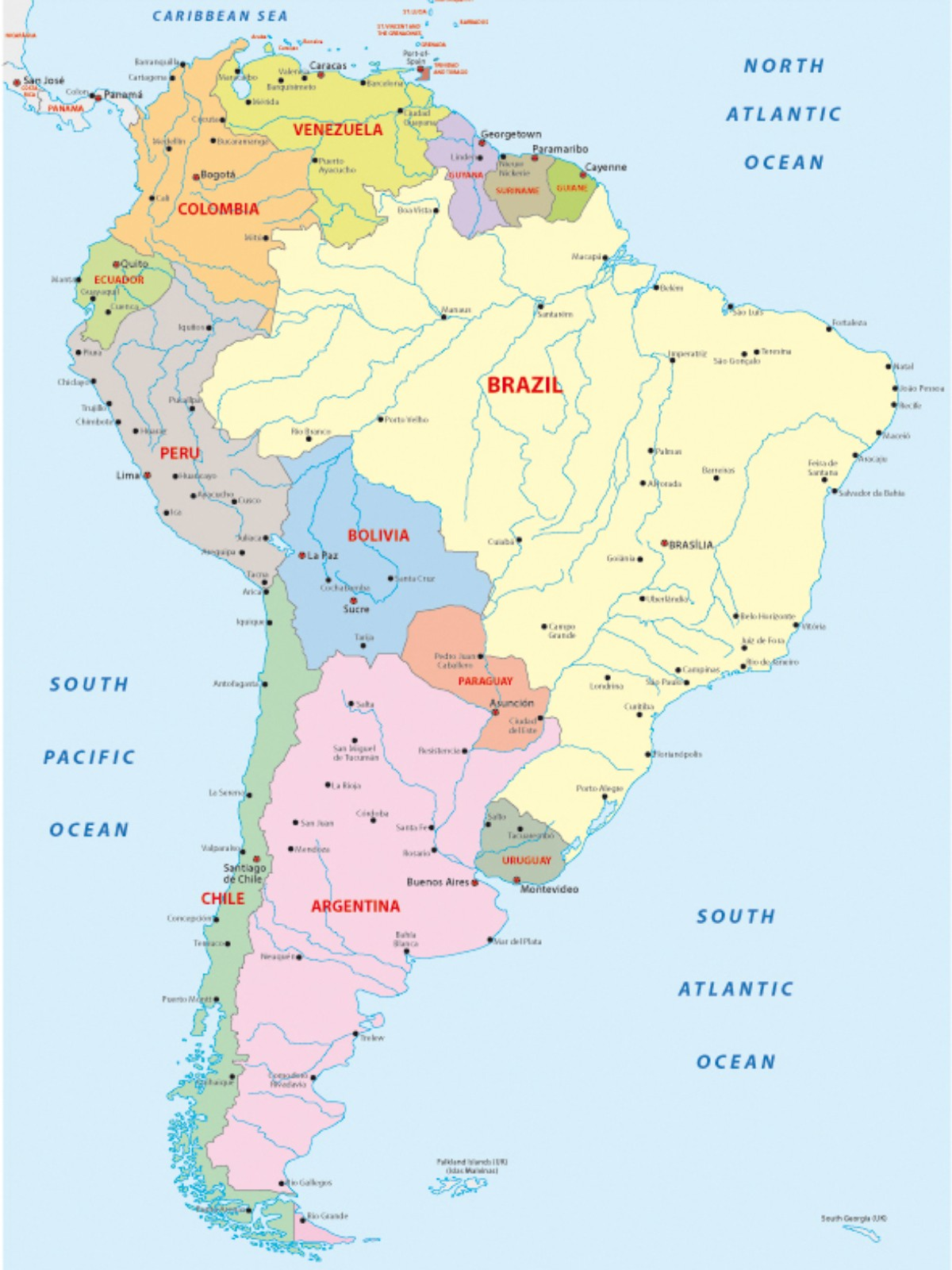 Landkaart Zuid Amerika