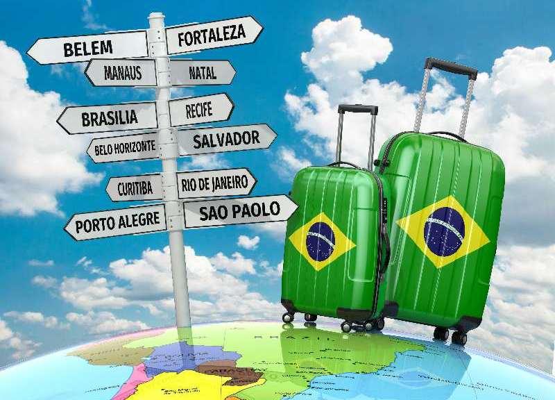Borden met landen-Braziliaanse koffers en een landkaart van Brazilië