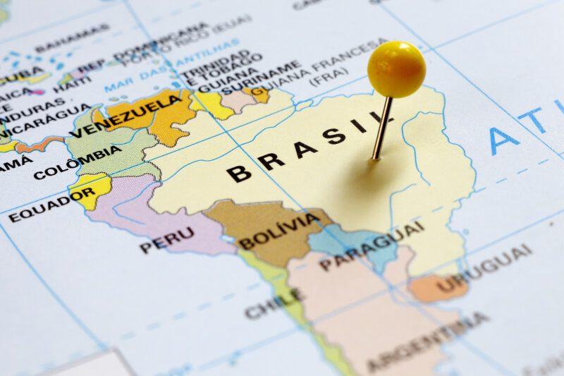 Brazilië grenst aan 10 van de 15 landen uit Zuid-Amerika-Landkaart van Zuid-Amerika