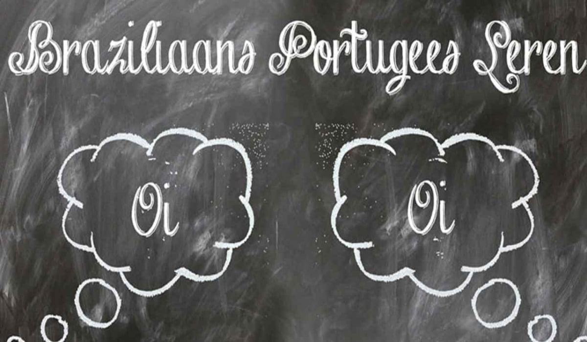 Schoolbord met de tekst Braziliaans Portugees leren