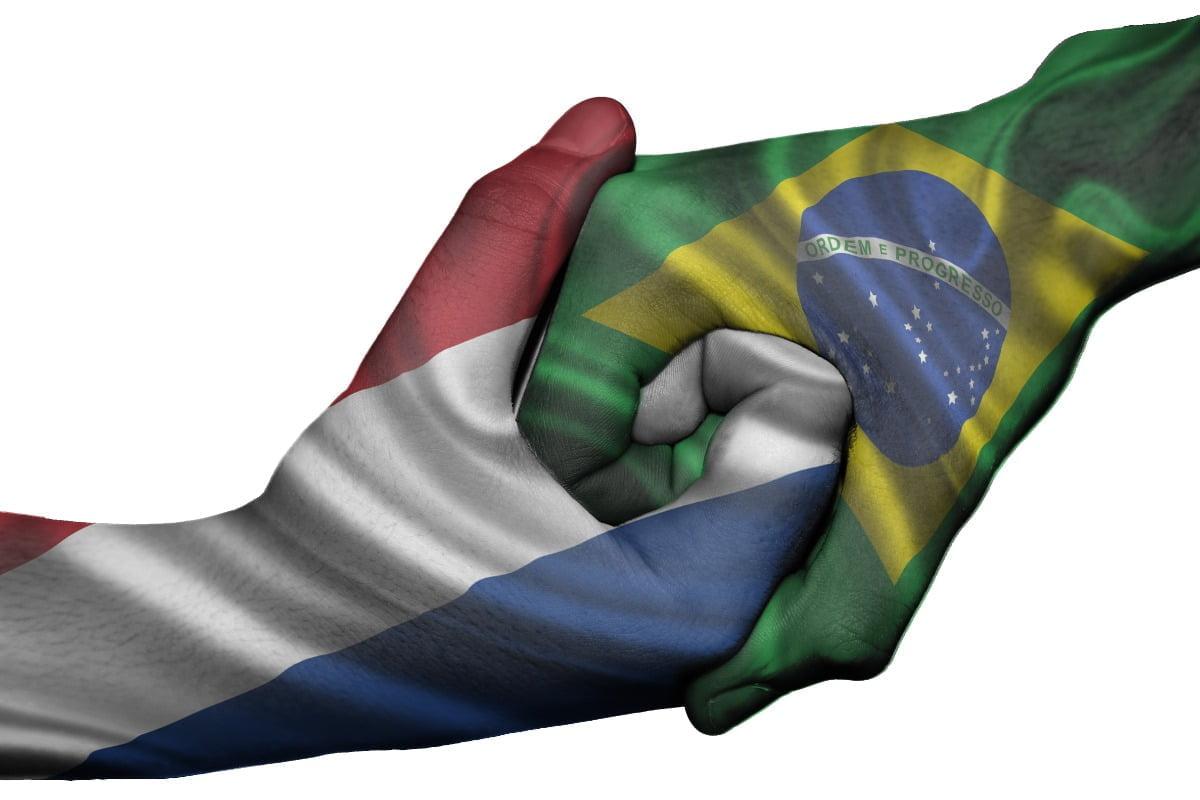 Twee vlaggen schudden hand