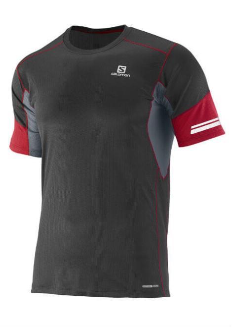 Salomon Agile SS Tee - Shirt - Zwart/Rood