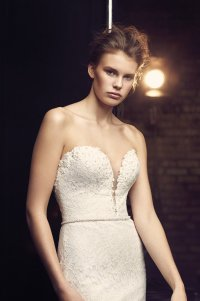 Plunging Neckline Wedding Dress - Style #2077 | Mikaella ...