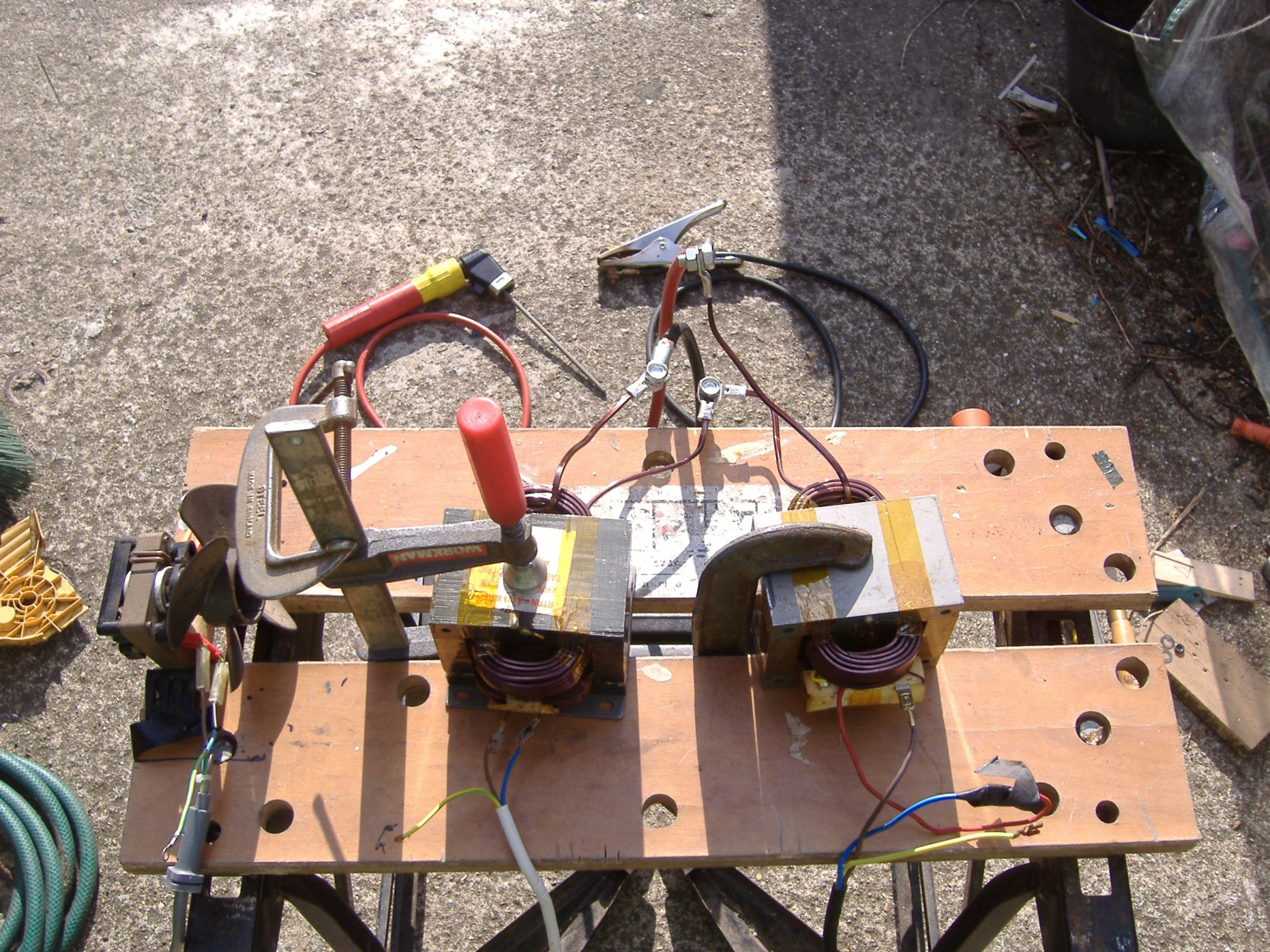 hight resolution of the welder temporarily assembled on a workmate