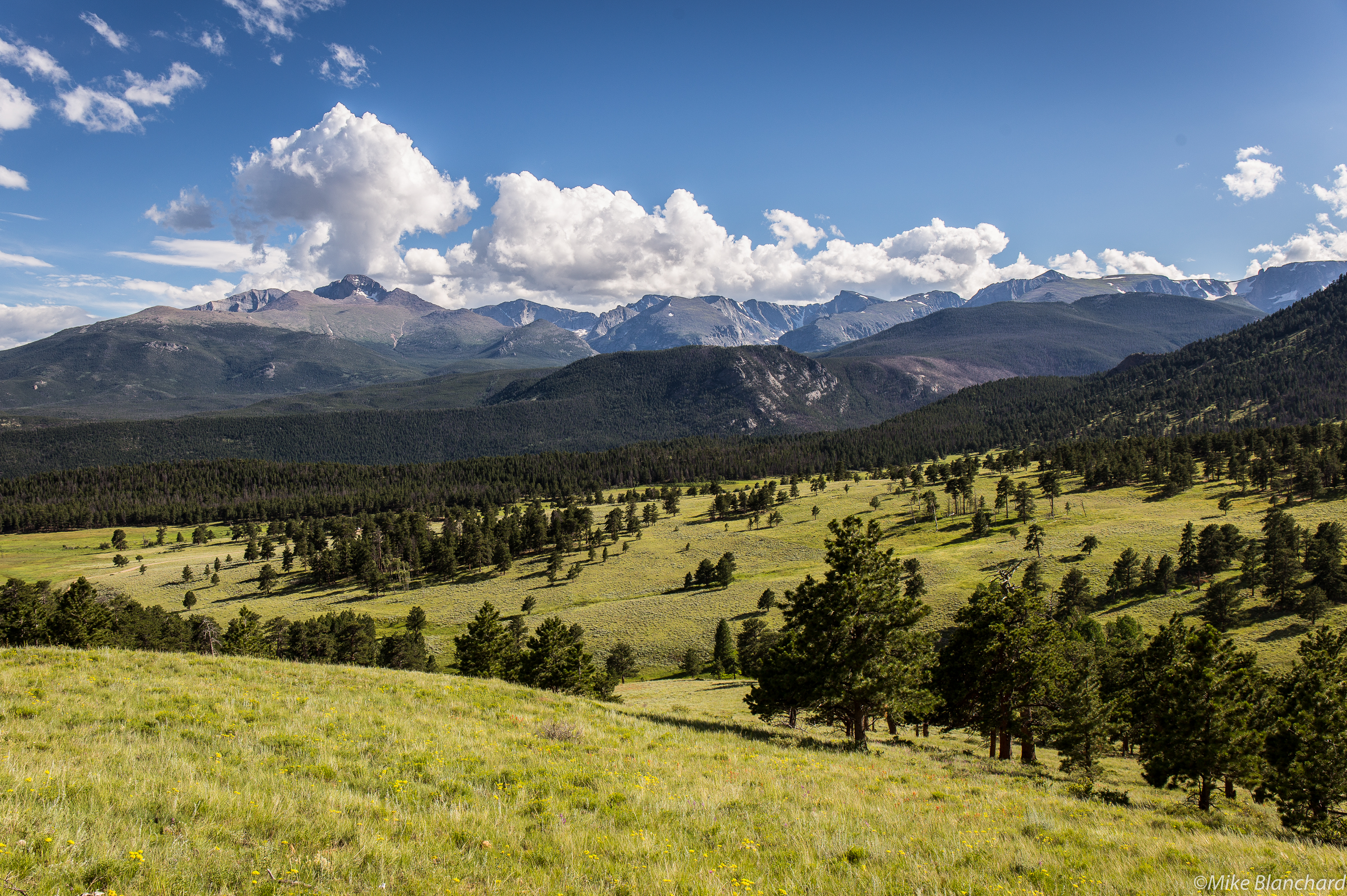 Longs Peak towers over Upper Beaver Meadows in Rocky Mountain National Park