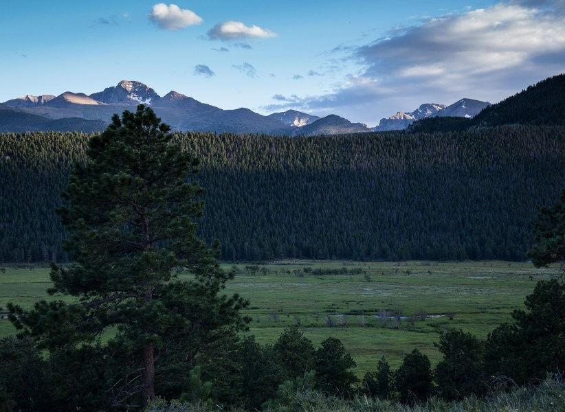 The last rays of the evening sun on Long's Peak and the moraine from Moraine Park Campground