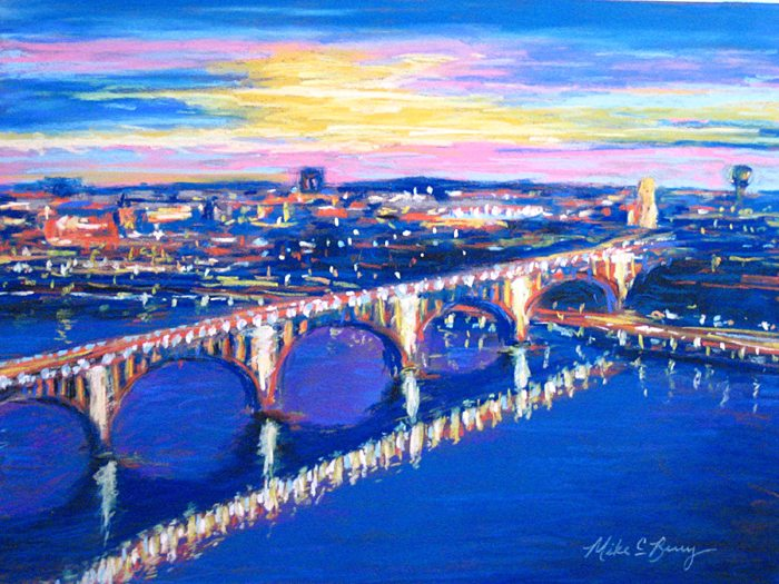 Pastels by Mike C Berry, a Contemporary Cityscape Painter