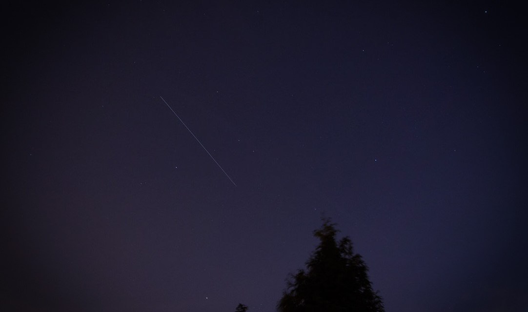 A long exposure image of the ISS