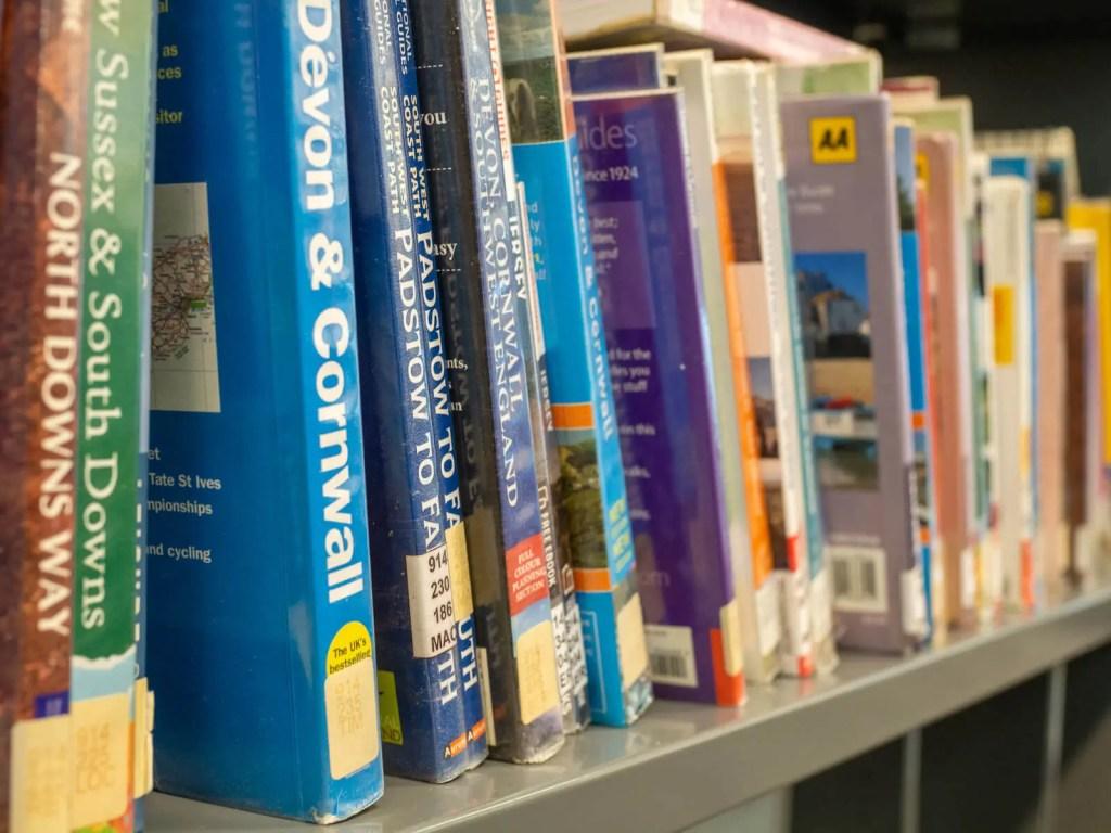 Books on a bookshelf.