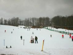 Skiers at Treetop Resort near Gaylord, MI in Dec 2014.