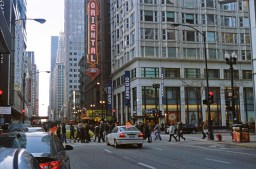 A great Chicago city scene. The expired Kodak film really fits with the scenery.