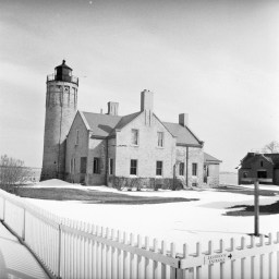 A lighthouse in the colonial park in Mackinaw City, MI.