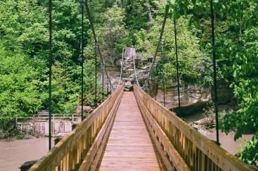 The suspension bridge over Sugar Creek in Turkey Run State Park.