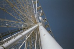 This image was shot in bright sunlight of a ferris wheel with tons of vertical lines, yet nothing is in focus.