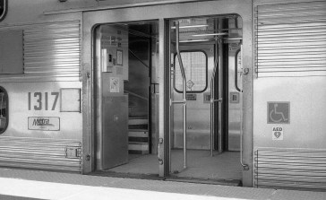 The silver and chrome look of the Metra train perfectly suits black and white film.
