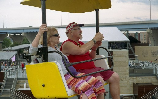 These people passed us by on the gondolas over Summerfest.