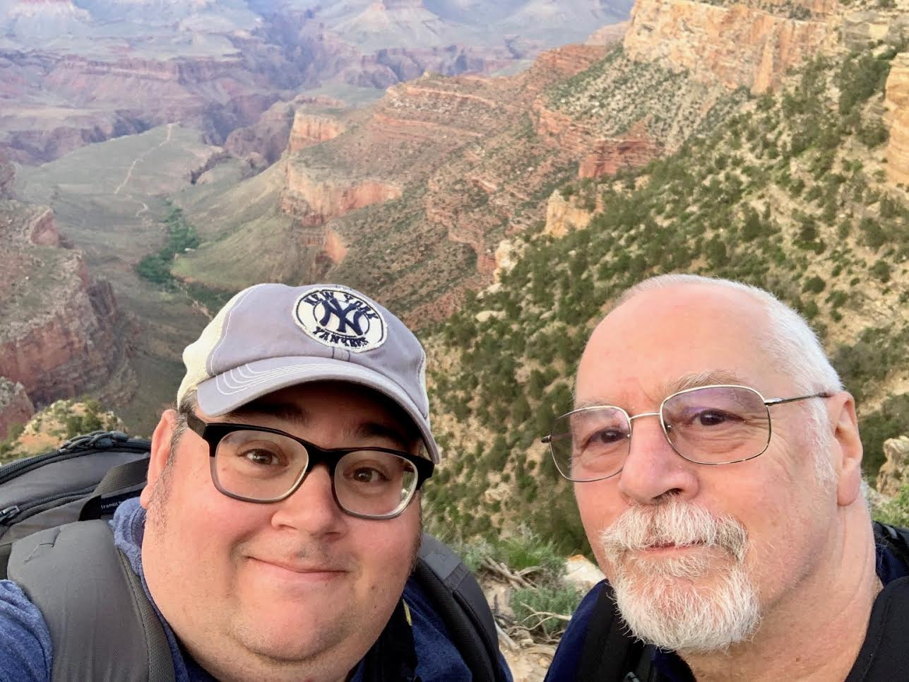 My father and I at the Bright Angel Trail in the South Rim of the Grand Canyon