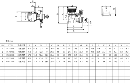 SH Engines 15-37 Size Dimensions