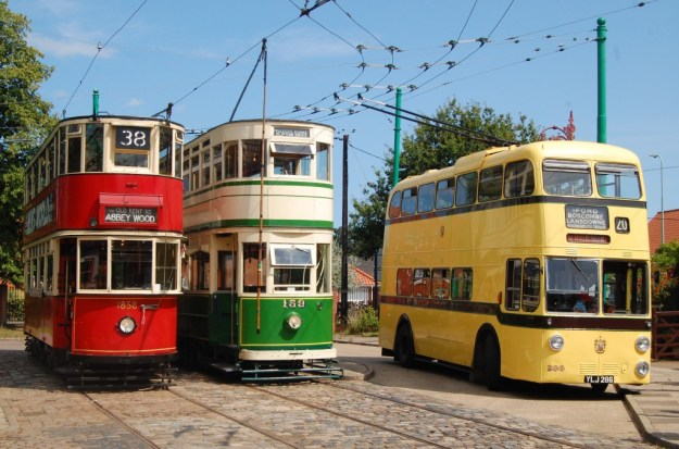 East Anglia Transport Museum, Carlton Colville, Suffolk:  London tram 1858, Blackpool tram 159 and Bournemouth trolleybus 206