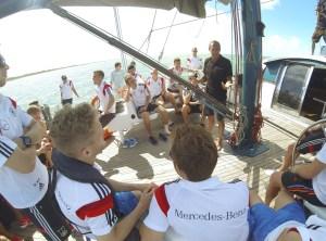 Mike Horn trains the German Football Team on board Pangaea