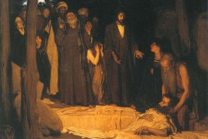 Henry Ossawa Tanner, Resurrection of Lazarus, 1896, Public Domain.