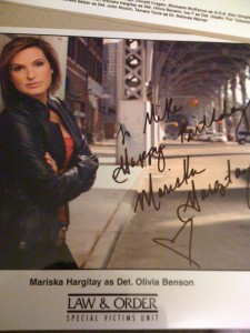 "Mariska Hargitay - it says ""To Mike Happy Birthday"""