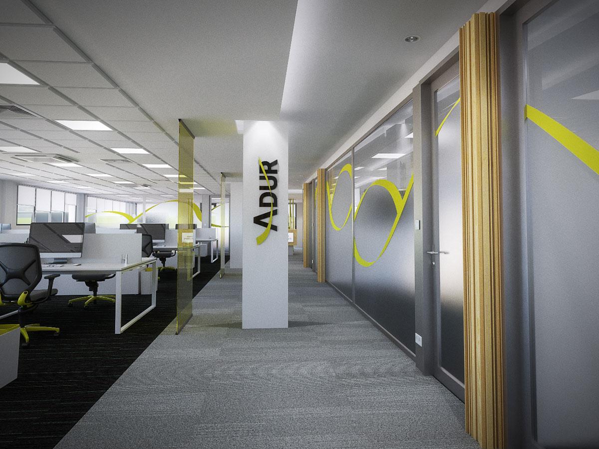 Ilustraciones 3D de interior de oficinas