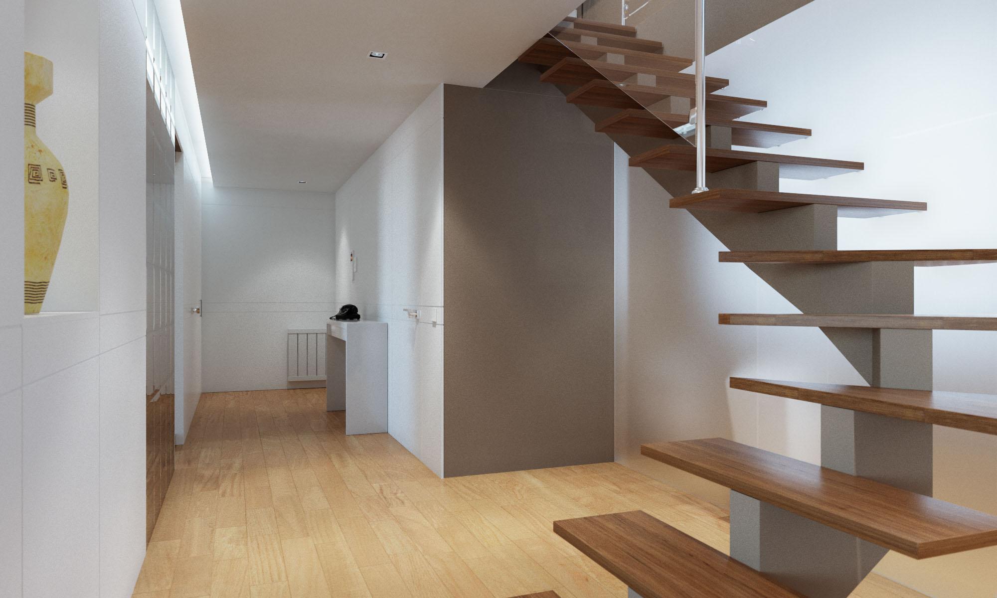 Render 3D arquitectura dúplex Donostia