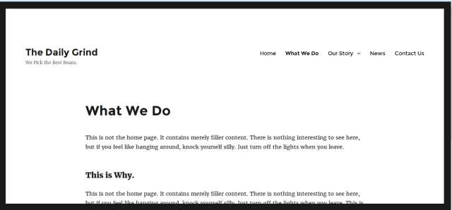 Twenty Sixteen Theme Before Applying WordPress Hack